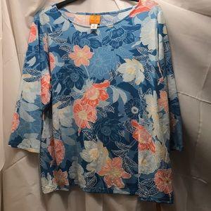 NWT sz 2x blue orange white floral top by ruby rd
